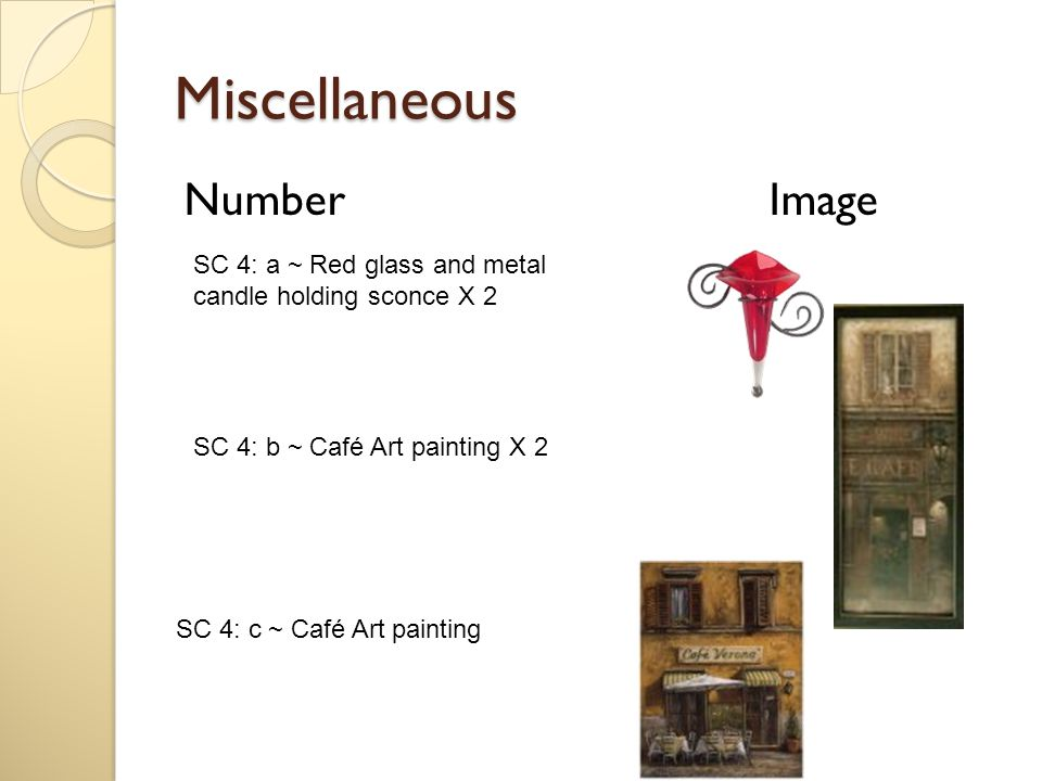Miscellaneous Number Image SC 4: c ~ Café Art painting SC 4: a ~ Red glass and metal candle holding sconce X 2 SC 4: b ~ Café Art painting X 2