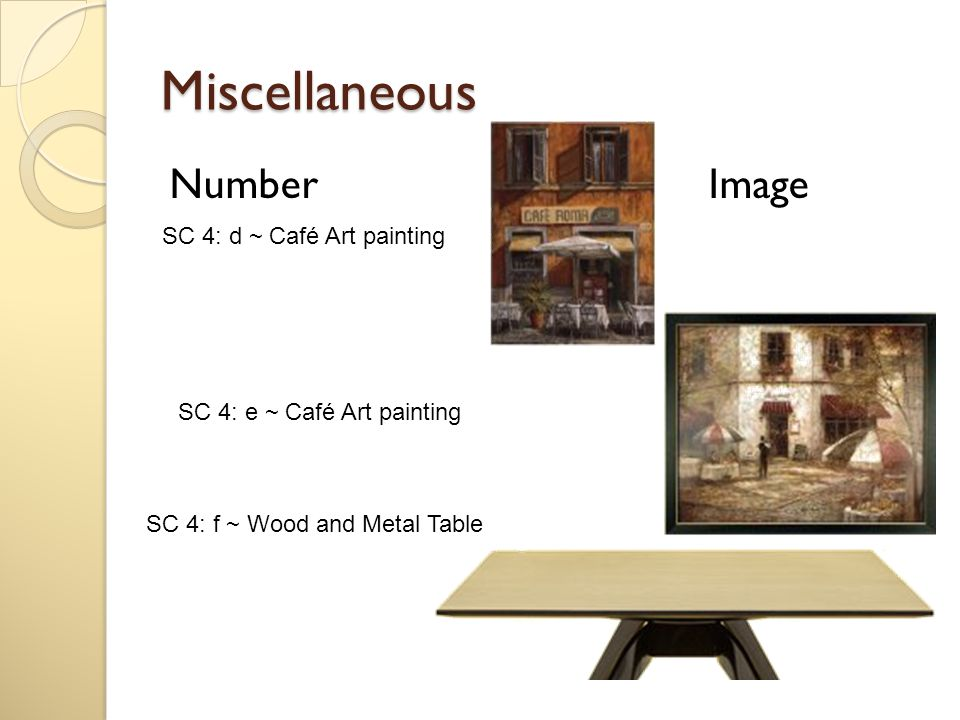 Miscellaneous Number Image SC 4: d ~ Café Art painting SC 4: e ~ Café Art painting SC 4: f ~ Wood and Metal Table
