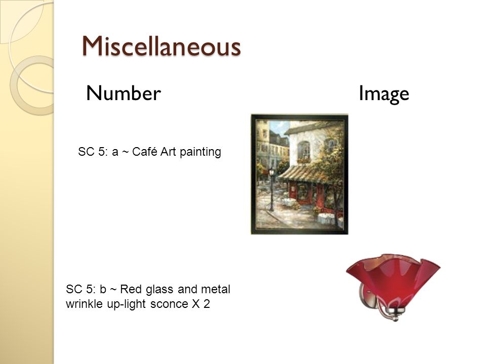Miscellaneous Number Image SC 5: a ~ Café Art painting SC 5: b ~ Red glass and metal wrinkle up-light sconce X 2