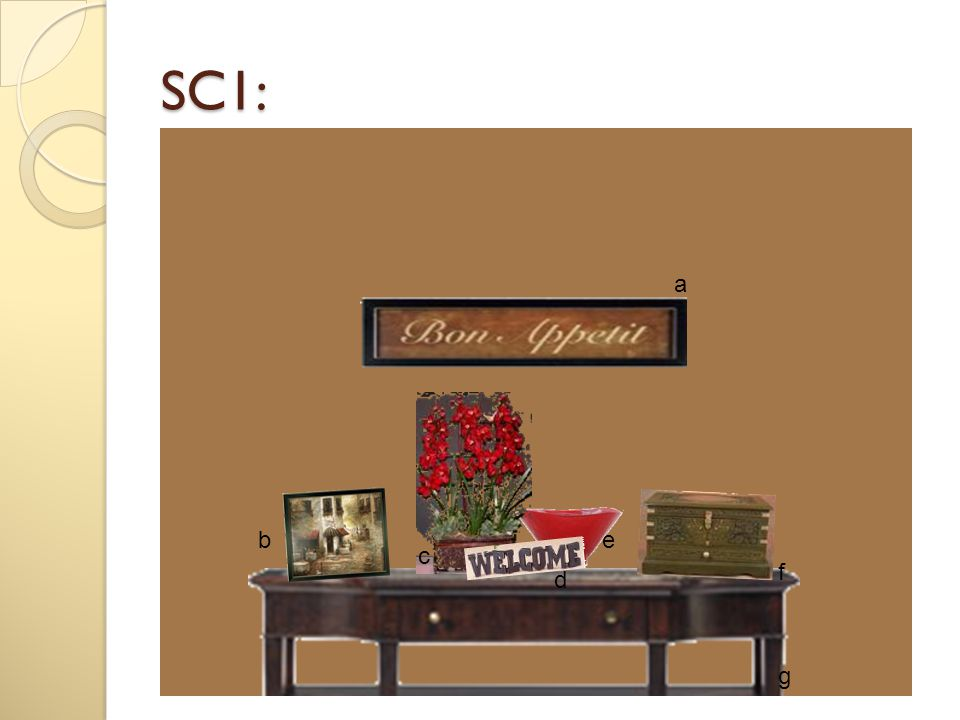 Miscellaneous Number Image SC 1: a ~ Quote Board Bon Appetit SC 1:b ~ Café Art Painting SC1:c ~ Red Bell Flowers SC1:d ~ Quote Board Welcome
