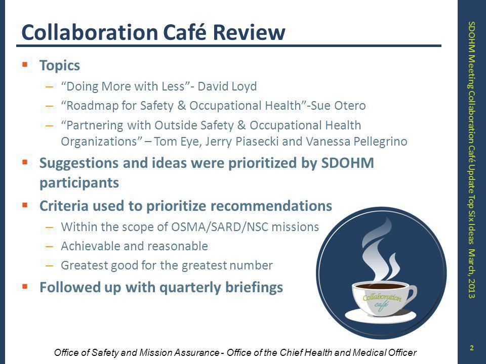 SDOHM Meeting Collaboration Café Update Top Six Ideas March, 2013 Office of Safety and Mission Assurance - Office of the Chief Health and Medical Officer Collaboration Café Review Topics – Doing More with Less- David Loyd – Roadmap for Safety & Occupational Health-Sue Otero – Partnering with Outside Safety & Occupational Health Organizations – Tom Eye, Jerry Piasecki and Vanessa Pellegrino Suggestions and ideas were prioritized by SDOHM participants Criteria used to prioritize recommendations – Within the scope of OSMA/SARD/NSC missions – Achievable and reasonable – Greatest good for the greatest number Followed up with quarterly briefings 2