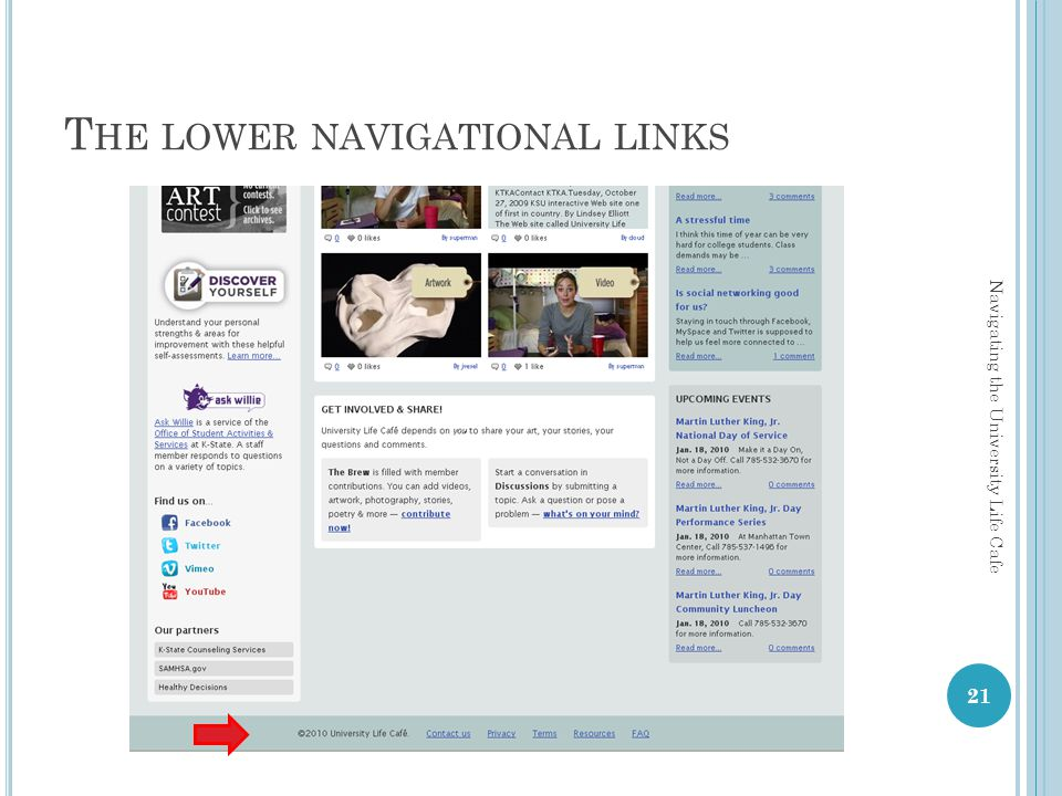 T HE LOWER NAVIGATIONAL LINKS 21 Navigating the University Life Cafe
