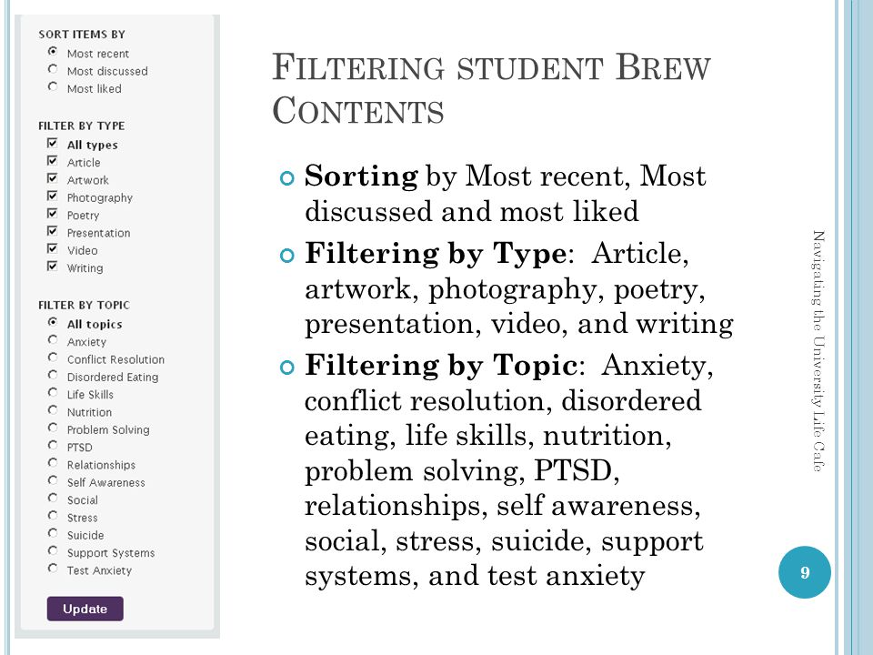 F ILTERING STUDENT B REW C ONTENTS Sorting by Most recent, Most discussed and most liked Filtering by Type : Article, artwork, photography, poetry, presentation, video, and writing Filtering by Topic : Anxiety, conflict resolution, disordered eating, life skills, nutrition, problem solving, PTSD, relationships, self awareness, social, stress, suicide, support systems, and test anxiety 9 Navigating the University Life Cafe