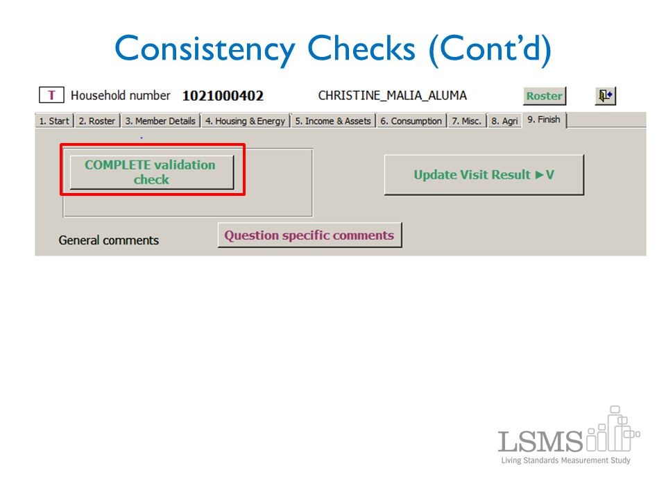 Consistency Checks (Contd)