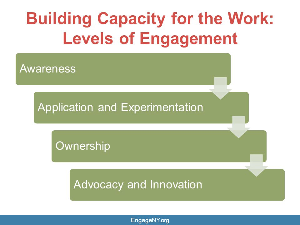 Building Capacity for the Work: Levels of Engagement AwarenessApplication and ExperimentationOwnershipAdvocacy and Innovation EngageNY.org