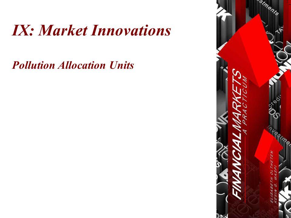 Pollution Allocation Units IX: Market Innovations