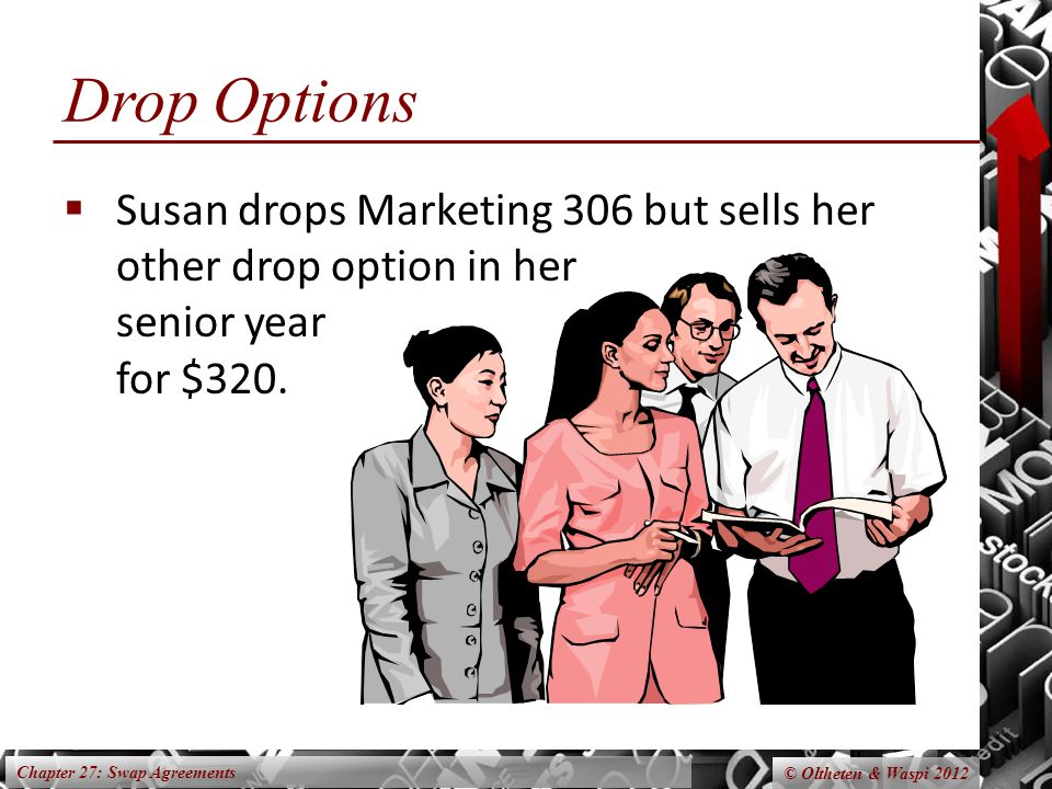 Chapter 27: Swap Agreements © Oltheten & Waspi 2012 Drop Options Susan drops Marketing 306 but sells her other drop option in her senior year for $320.