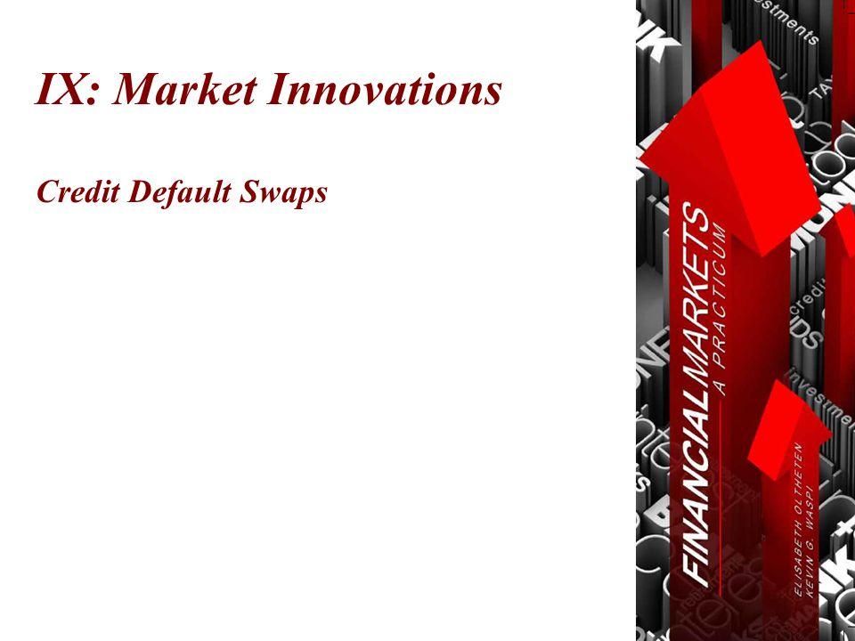 Credit Default Swaps IX: Market Innovations