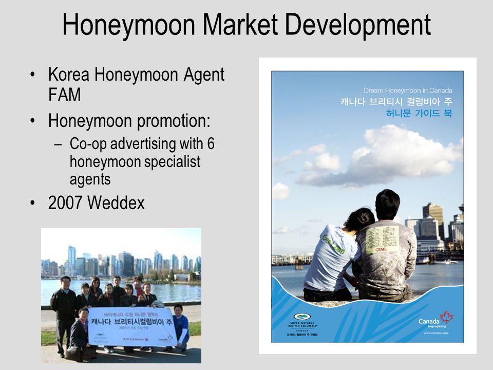Honeymoon Market Development Korea Honeymoon Agent FAM Honeymoon promotion: –Co-op advertising with 6 honeymoon specialist agents 2007 Weddex