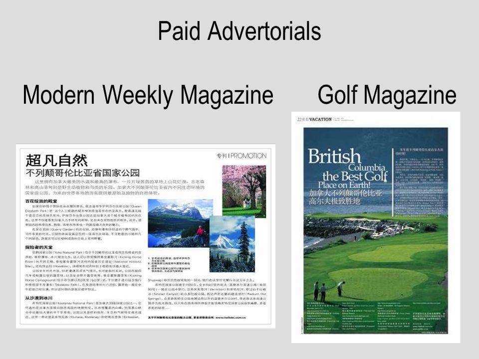 Paid Advertorials Modern Weekly Magazine Golf Magazine