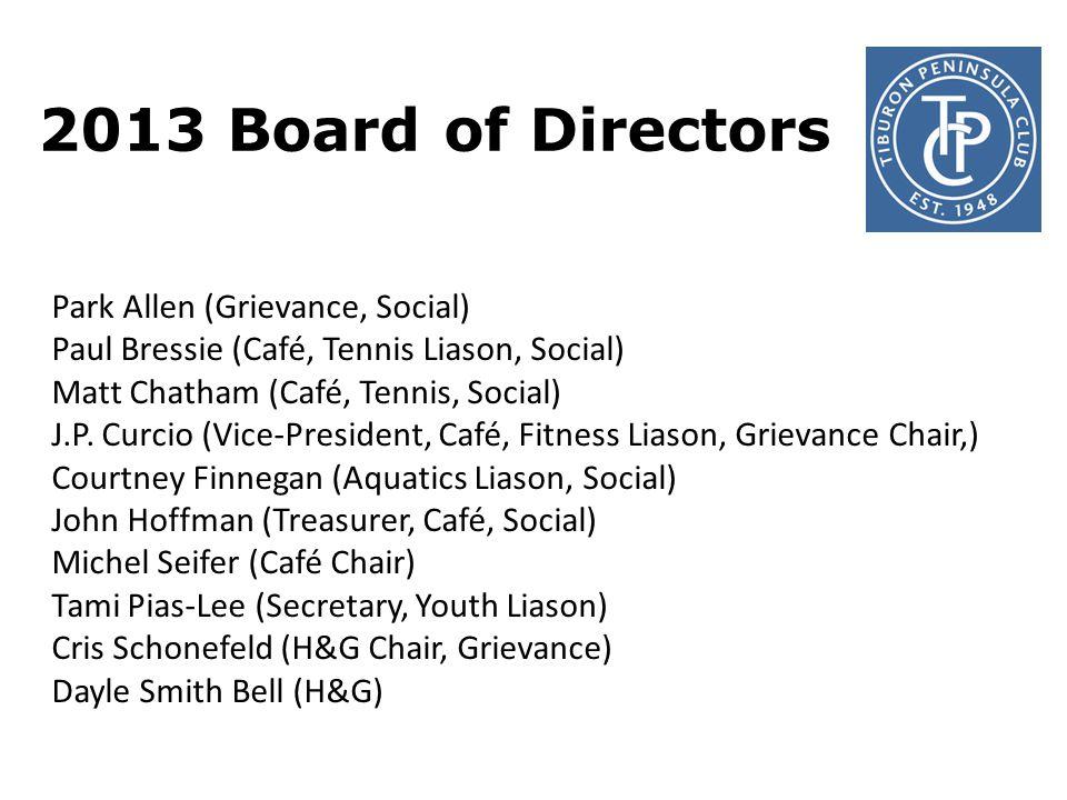 2013 Board of Directors Park Allen (Grievance, Social) Paul Bressie (Café, Tennis Liason, Social) Matt Chatham (Café, Tennis, Social) J.P.