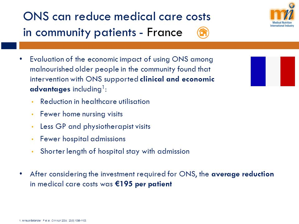 ONS can reduce medical care costs in community patients - France Evaluation of the economic impact of using ONS among malnourished older people in the
