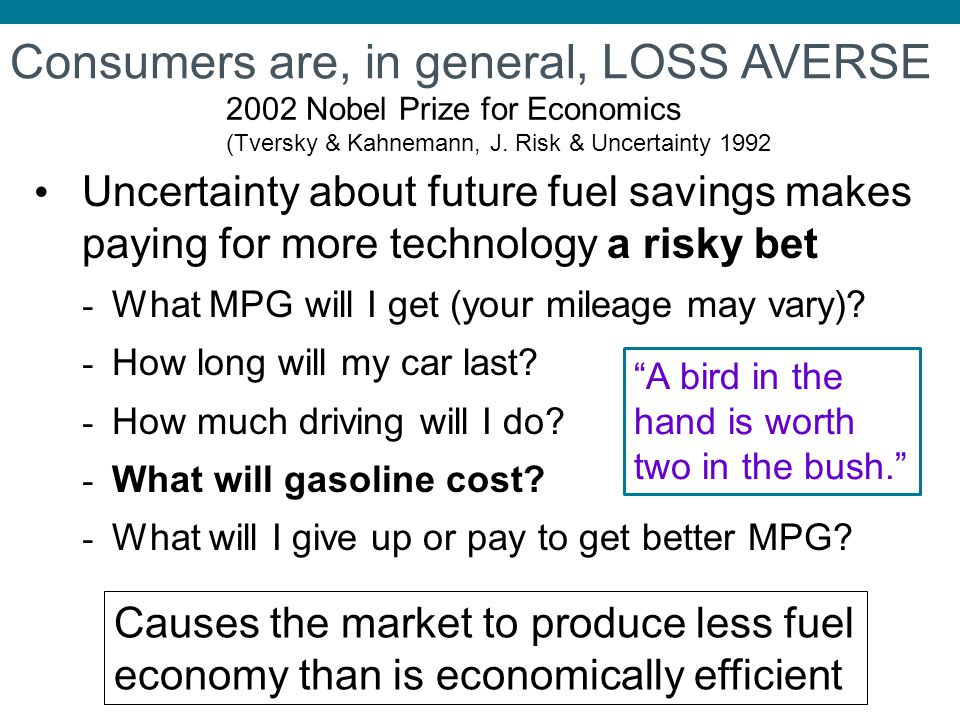 Uncertainty about future fuel savings makes paying for more technology a risky bet - What MPG will I get (your mileage may vary)? - How long will my c