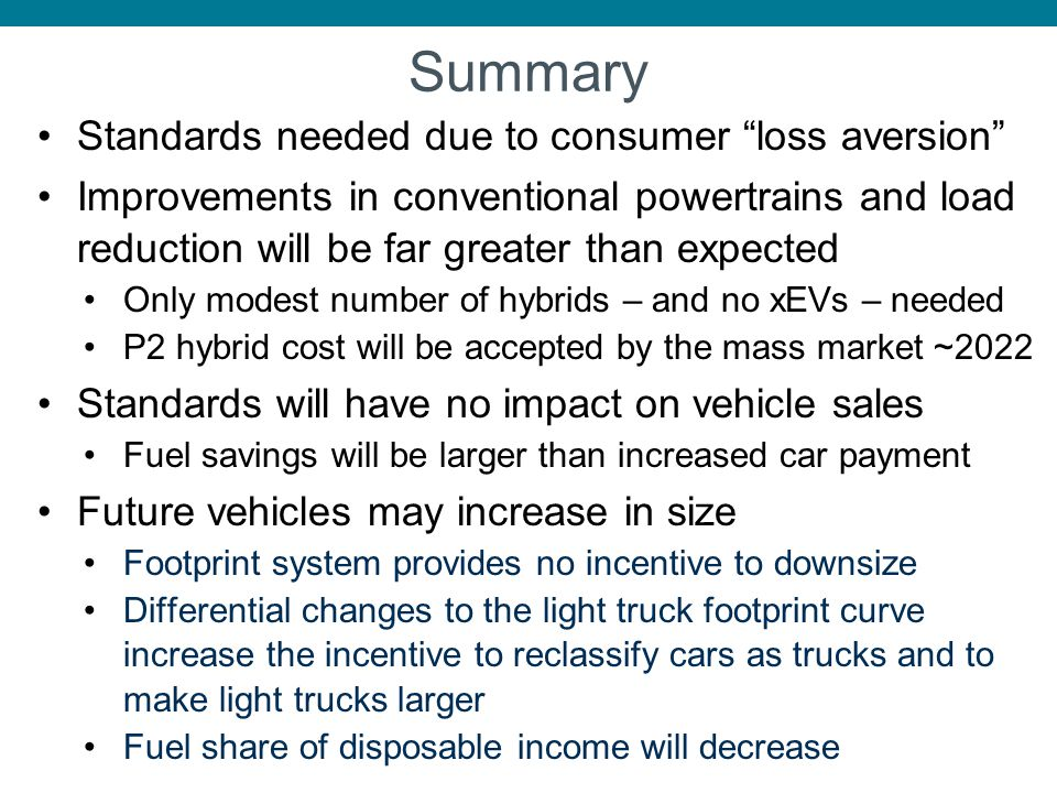 Summary Standards needed due to consumer loss aversion Improvements in conventional powertrains and load reduction will be far greater than expected O