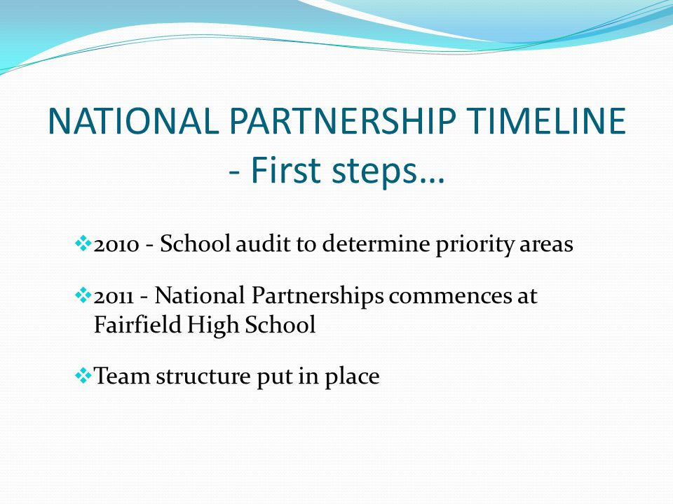 NATIONAL PARTNERSHIP TIMELINE - First steps… 2010 - School audit to determine priority areas 2011 - National Partnerships commences at Fairfield High School Team structure put in place
