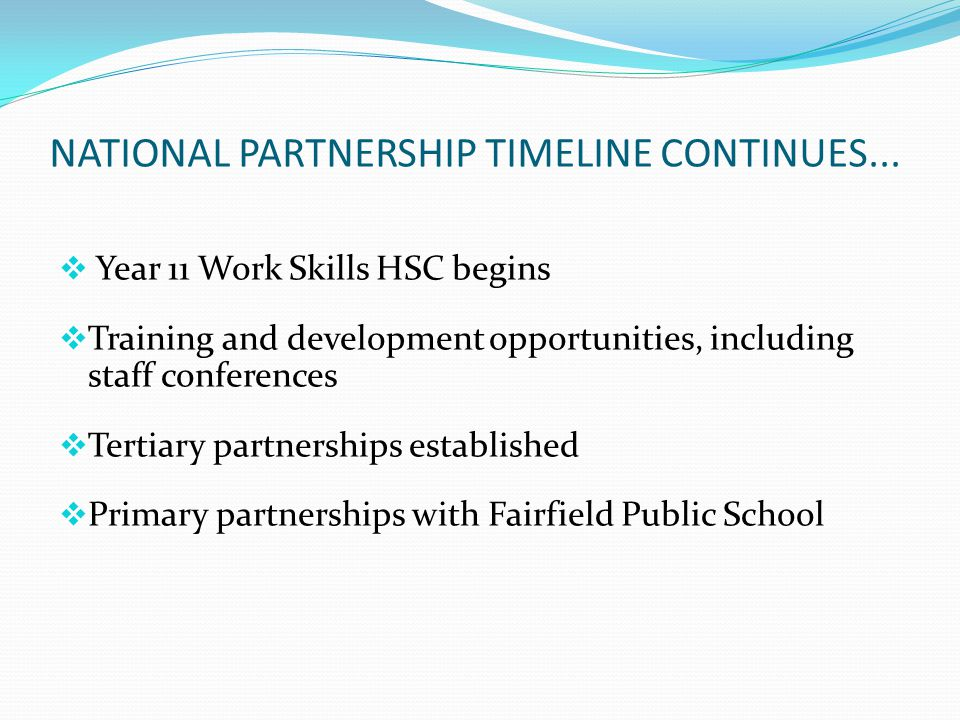 NATIONAL PARTNERSHIP TIMELINE CONTINUES...