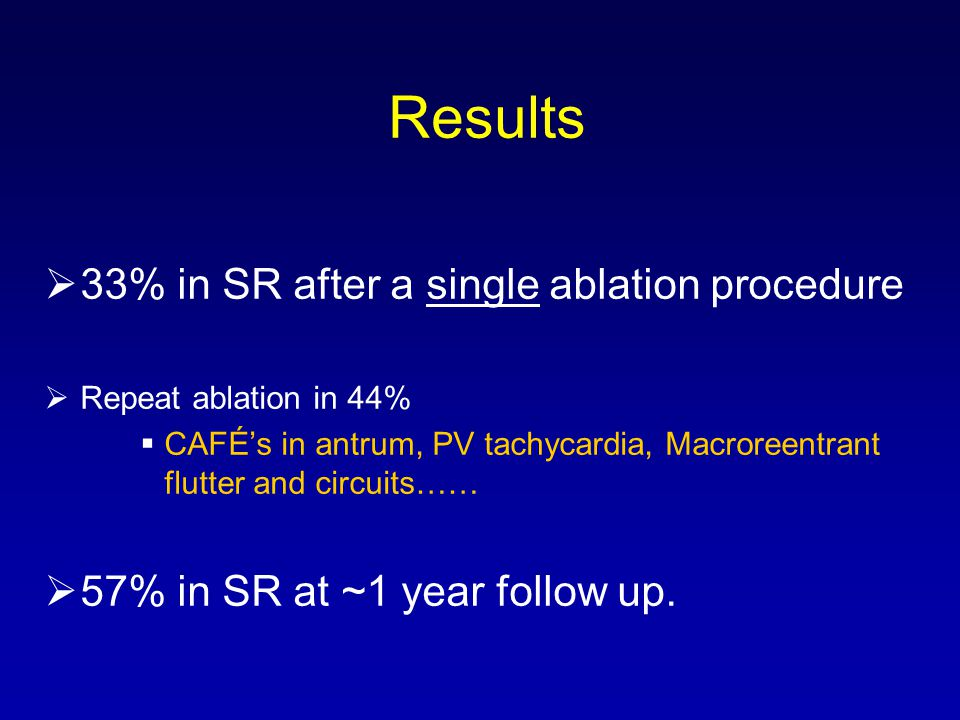Results 33% in SR after a single ablation procedure Repeat ablation in 44% CAFÉs in antrum, PV tachycardia, Macroreentrant flutter and circuits…… 57% in SR at ~1 year follow up.
