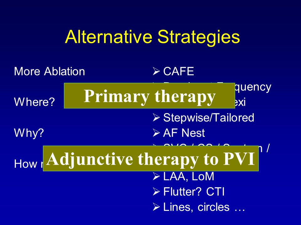 Alternative Strategies More Ablation Where? Why? How much more? CAFE Dominant Frequency Ganglionic Plexi Stepwise/Tailored AF Nest SVC / CS / Septum /