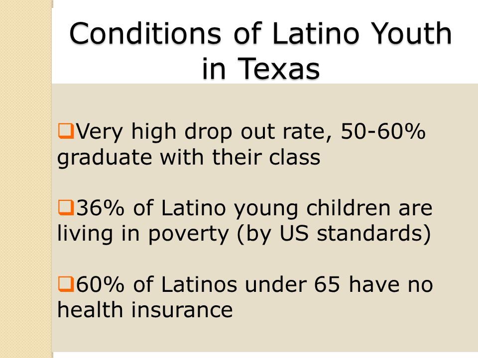 Conditions of Latino Youth in Texas Cont.