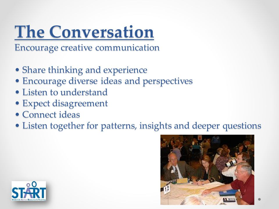 The Conversation Encourage creative communication Share thinking and experience Encourage diverse ideas and perspectives Listen to understand Expect disagreement Connect ideas Listen together for patterns, insights and deeper questions
