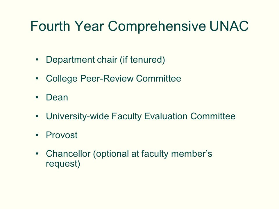 Department chair (if tenured) College Peer-Review Committee Dean University-wide Faculty Evaluation Committee Provost Chancellor (optional at faculty members request) Fourth Year Comprehensive UNAC