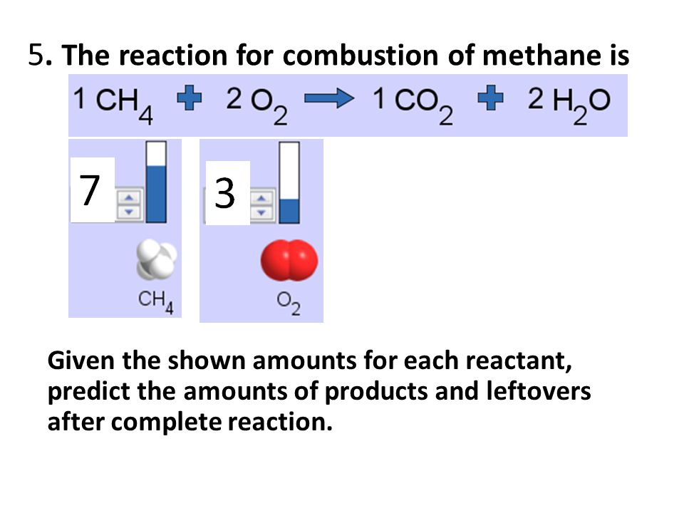5. The reaction for combustion of methane is Given the shown amounts for each reactant, predict the amounts of products and leftovers after complete r