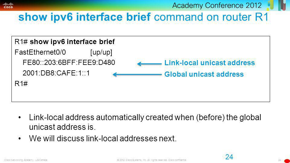 24 © 2012 Cisco Systems, Inc. All rights reserved. Cisco confidential.Cisco Networking Academy, US/Canada show ipv6 interface brief command on router