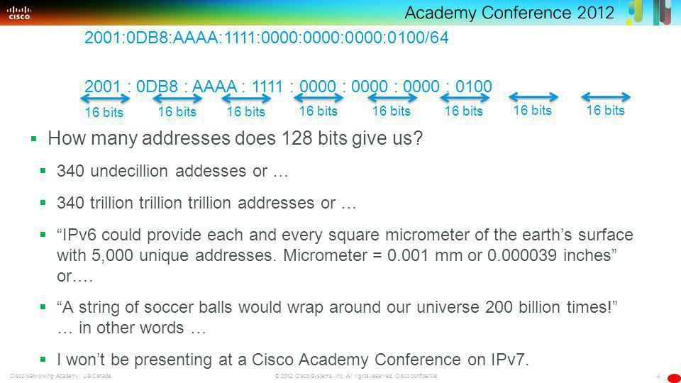 4 © 2012 Cisco Systems, Inc. All rights reserved. Cisco confidential.Cisco Networking Academy, US/Canada How many addresses does 128 bits give us? 340