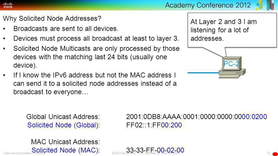 73 © 2012 Cisco Systems, Inc. All rights reserved. Cisco confidential.Cisco Networking Academy, US/Canada At Layer 2 and 3 I am listening for a lot of