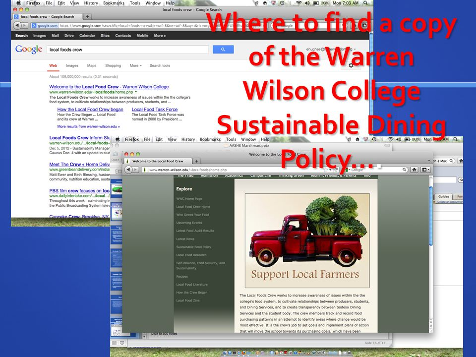 Where to find a copy of the Warren Wilson College Sustainable Dining Policy….
