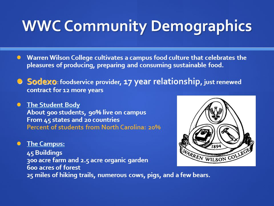 WWC Community Demographics Warren Wilson College cultivates a campus food culture that celebrates the pleasures of producing, preparing and consuming