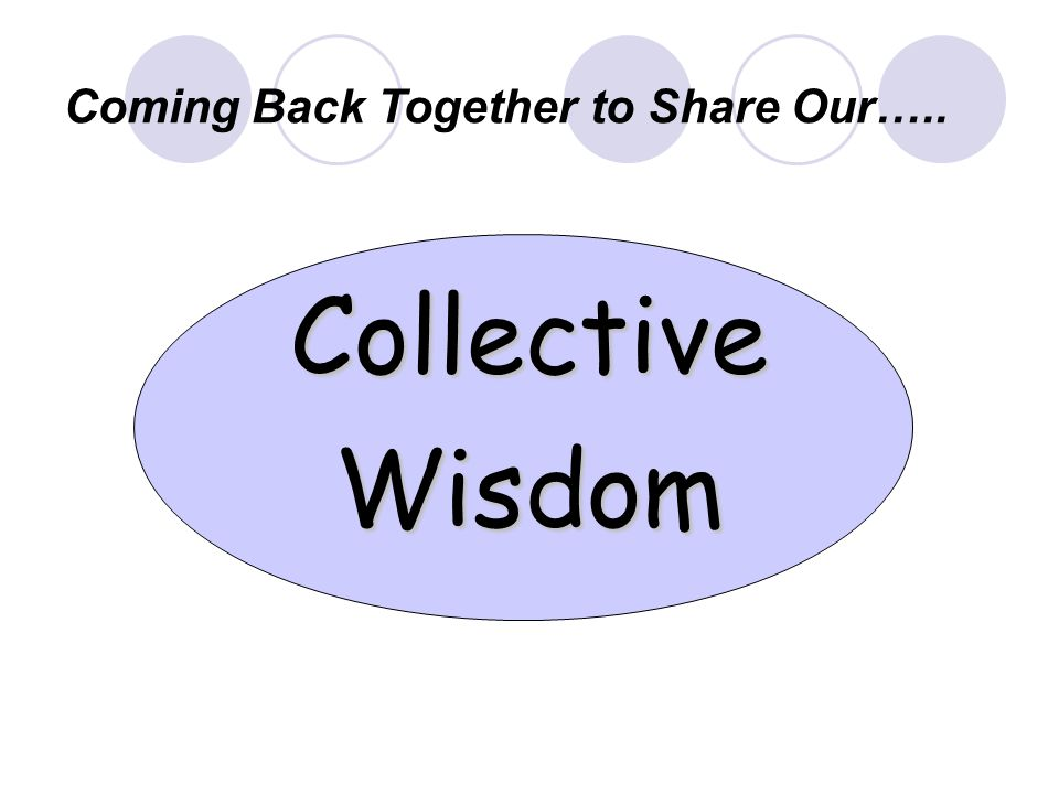 CollectiveWisdom Coming Back Together to Share Our…..