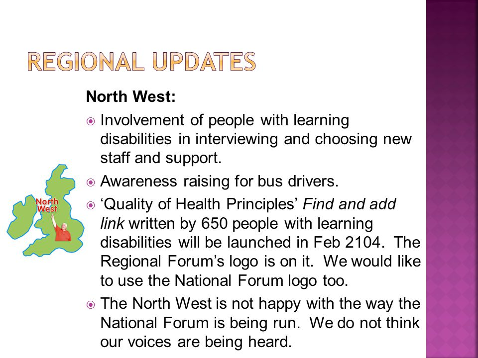 North West: Involvement of people with learning disabilities in interviewing and choosing new staff and support.