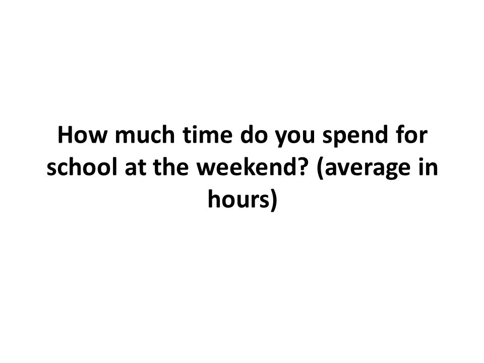 How much time do you spend for school at the weekend? (average in hours)