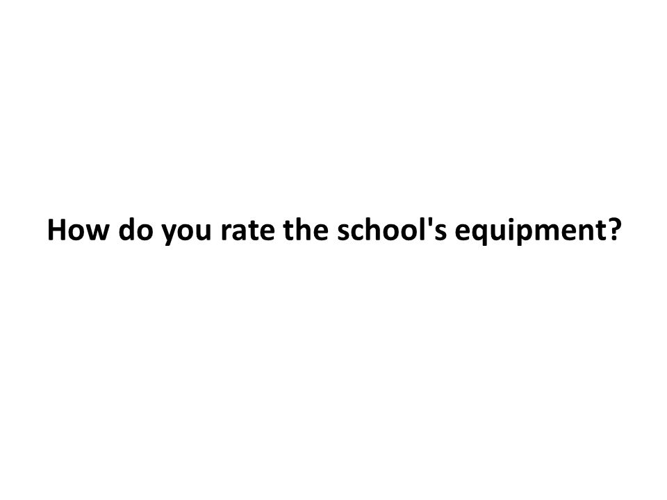 How do you rate the school s equipment?