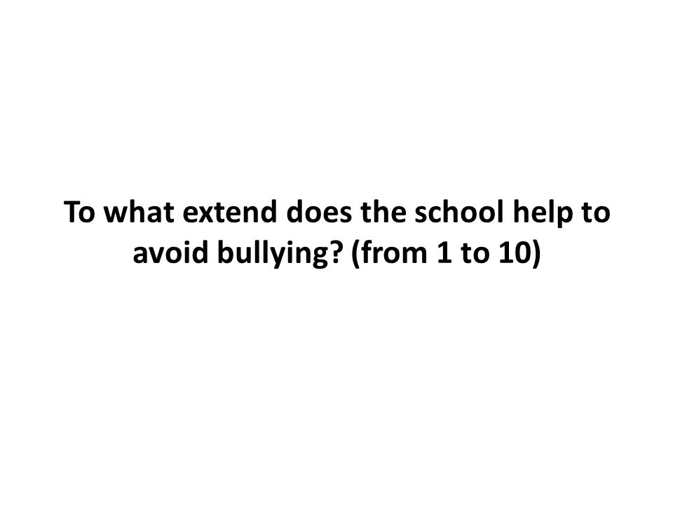 To what extend does the school help to avoid bullying? (from 1 to 10)