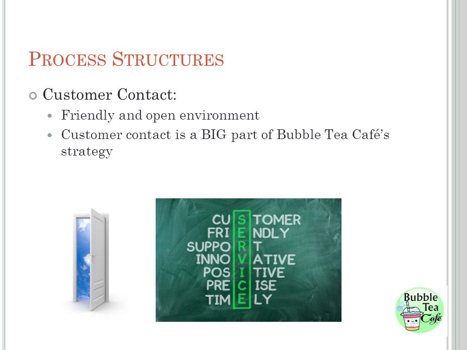 P ROCESS S TRUCTURES Customer Contact: Friendly and open environment Customer contact is a BIG part of Bubble Tea Cafés strategy