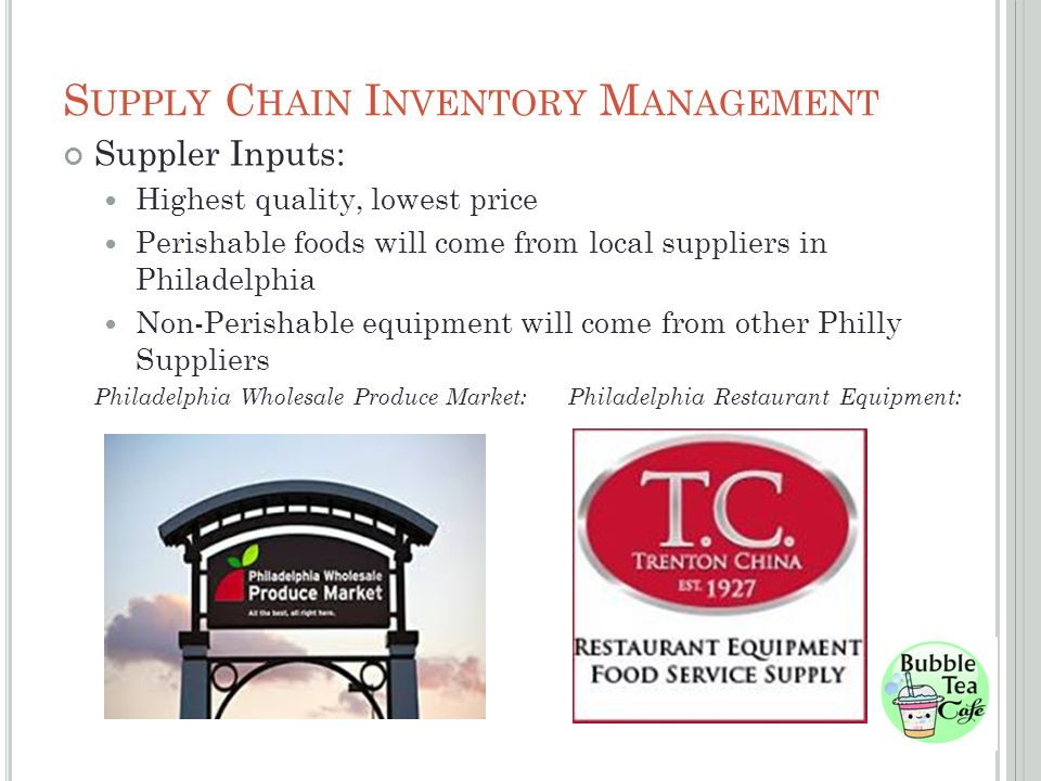 S UPPLY C HAIN I NVENTORY M ANAGEMENT Suppler Inputs: Highest quality, lowest price Perishable foods will come from local suppliers in Philadelphia Non-Perishable equipment will come from other Philly Suppliers Philadelphia Wholesale Produce Market: Philadelphia Restaurant Equipment: