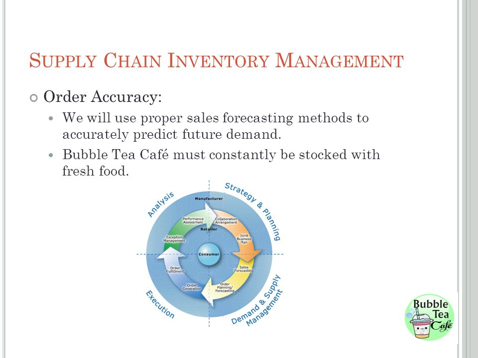 S UPPLY C HAIN I NVENTORY M ANAGEMENT Order Accuracy: We will use proper sales forecasting methods to accurately predict future demand.