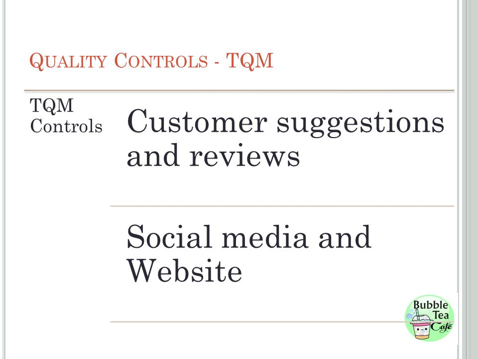 Q UALITY C ONTROLS - TQM TQM Controls Customer suggestions and reviews Social media and Website