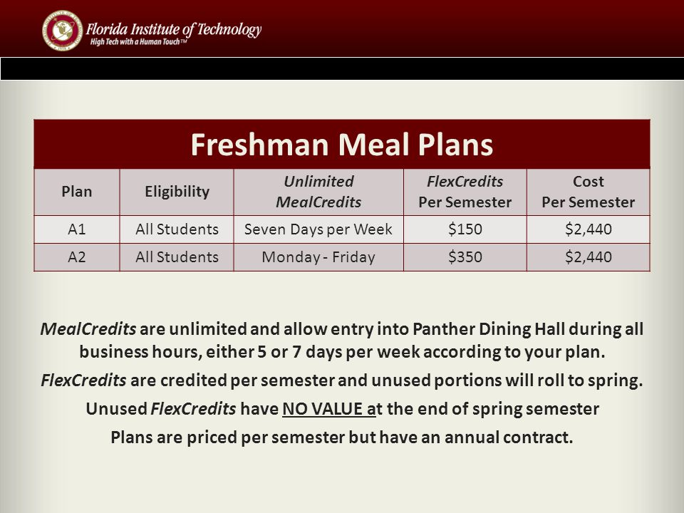 Freshman Meal Plans PlanEligibility Unlimited MealCredits FlexCredits Per Semester Cost Per Semester A1All StudentsSeven Days per Week$150$2,440 A2All StudentsMonday - Friday$350$2,440 MealCredits are unlimited and allow entry into Panther Dining Hall during all business hours, either 5 or 7 days per week according to your plan.