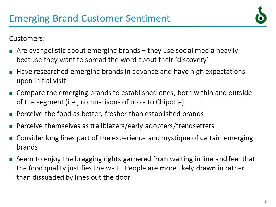 3 Emerging Brand Customer Sentiment Customers: Are evangelistic about emerging brands – they use social media heavily because they want to spread the
