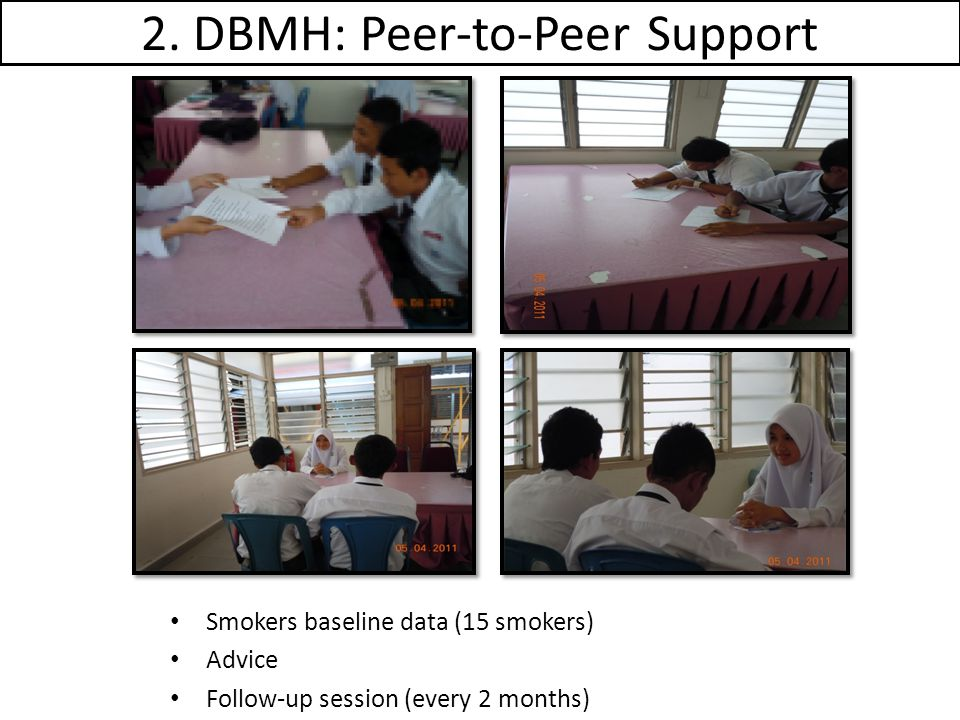 2. DBMH: Peer-to-Peer Support Smokers baseline data (15 smokers) Advice Follow-up session (every 2 months)