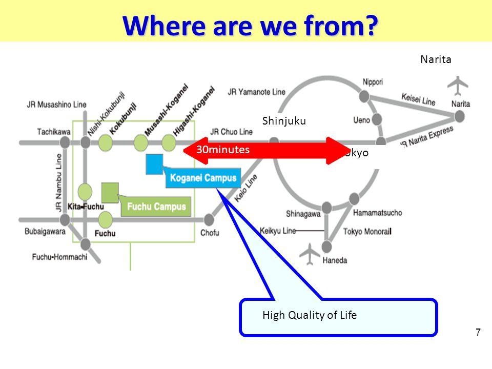 Where are we from? 7 High Quality of Life Narita Shinjuku Tokyo 30minutes