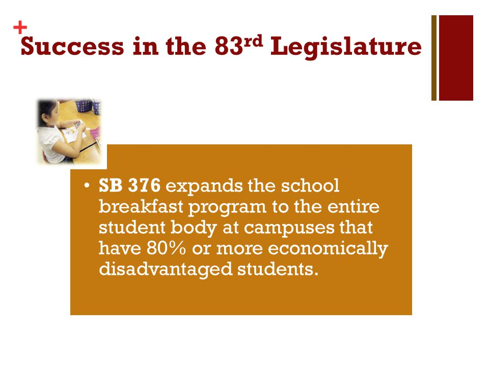+ Success in the 83 rd Legislature SB 376 expands the school breakfast program to the entire student body at campuses that have 80% or more economically disadvantaged students.