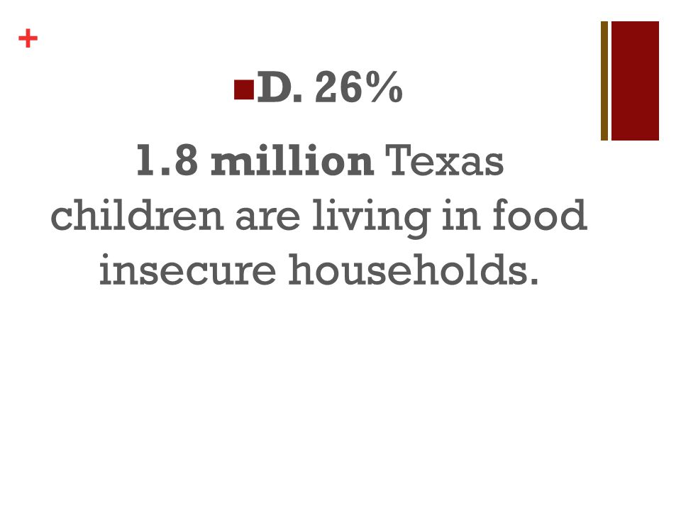 + 1.8 million Texas children are living in food insecure households.