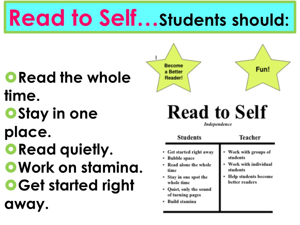 Read the whole time. Stay in one place. Read quietly. Work on stamina. Get started right away. Read to Self… Students should: