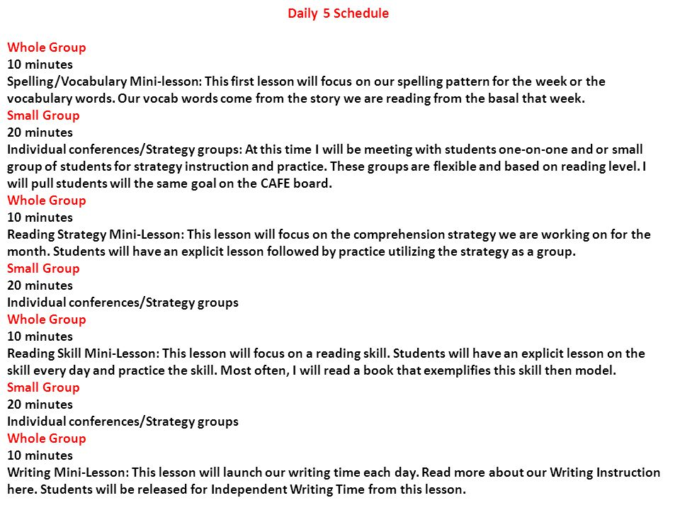 Daily 5 Schedule Whole Group 10 minutes Spelling/Vocabulary Mini-lesson: This first lesson will focus on our spelling pattern for the week or the voca