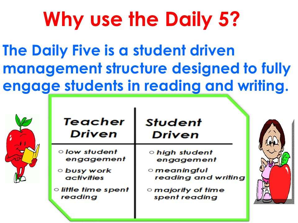 The Daily Five is a student driven management structure designed to fully engage students in reading and writing. Why use the Daily 5?