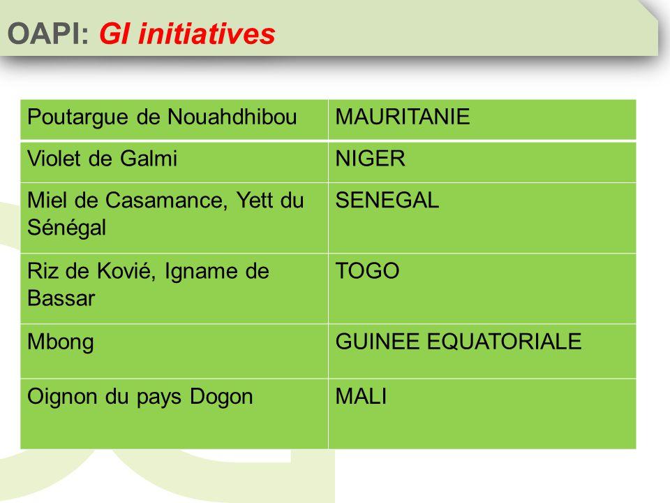 Poutargue de NouahdhibouMAURITANIE Violet de GalmiNIGER Miel de Casamance, Yett du Sénégal SENEGAL Riz de Kovié, Igname de Bassar TOGO MbongGUINEE EQUATORIALE Oignon du pays DogonMALI OAPI: GI initiatives